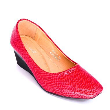 TULIP CLOSED TOE SANDALS WEDGED CT578 red